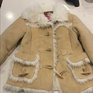 Girls leather and faux fur jacket